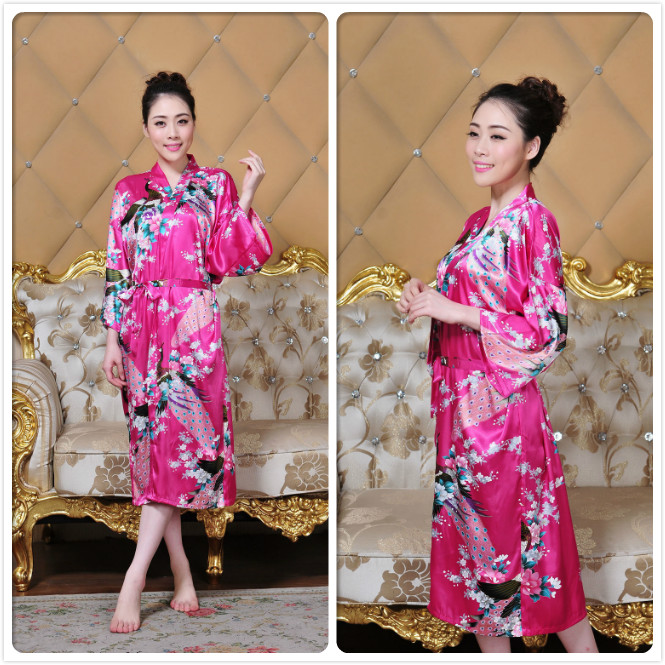 Women long floral Robe Dressing Gown Bridal Wedding Bride Bridesmaid ...