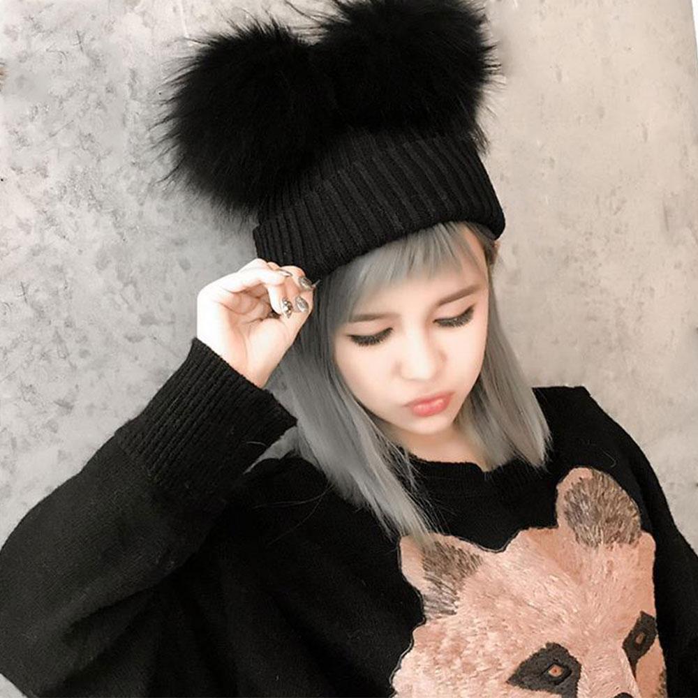 Women Girls Double Fur Pom Bobble Knit Beanie Hats Cap Fashion Winter Warm  Hats 728091f0467