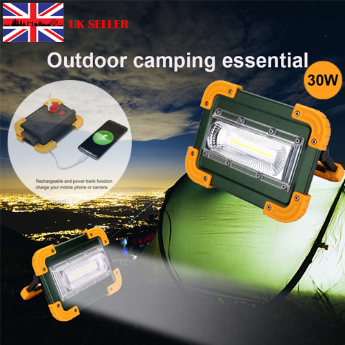 30 LED 30W Work Light Rechargeable Floodlight Security USB Outdoor Camping Lamp