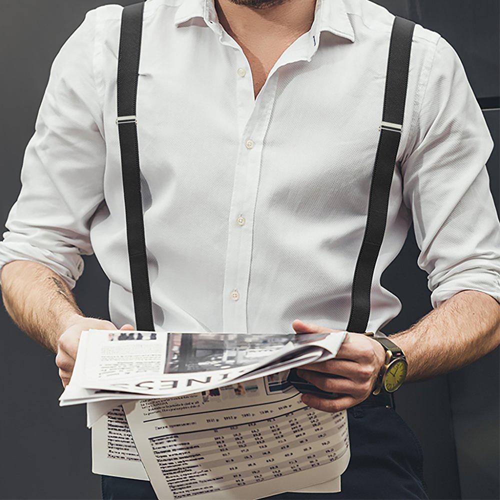 Mens Adjustable Trouser Belt Suspender Elastic Button Braces Buckle X-Shape