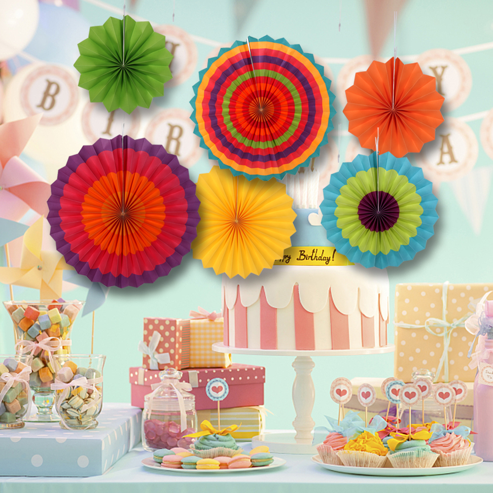 6x Wedding Birthday Party Paper Fan Flowers Paper Table Hanging Wall