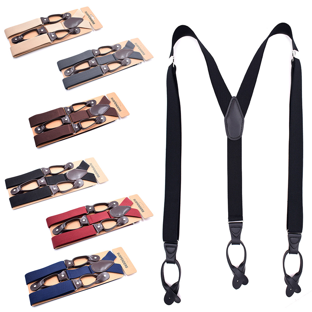 Mens Adjustable Heavy Duty Trouser Belt Suspender Elastic Leather Button Braces