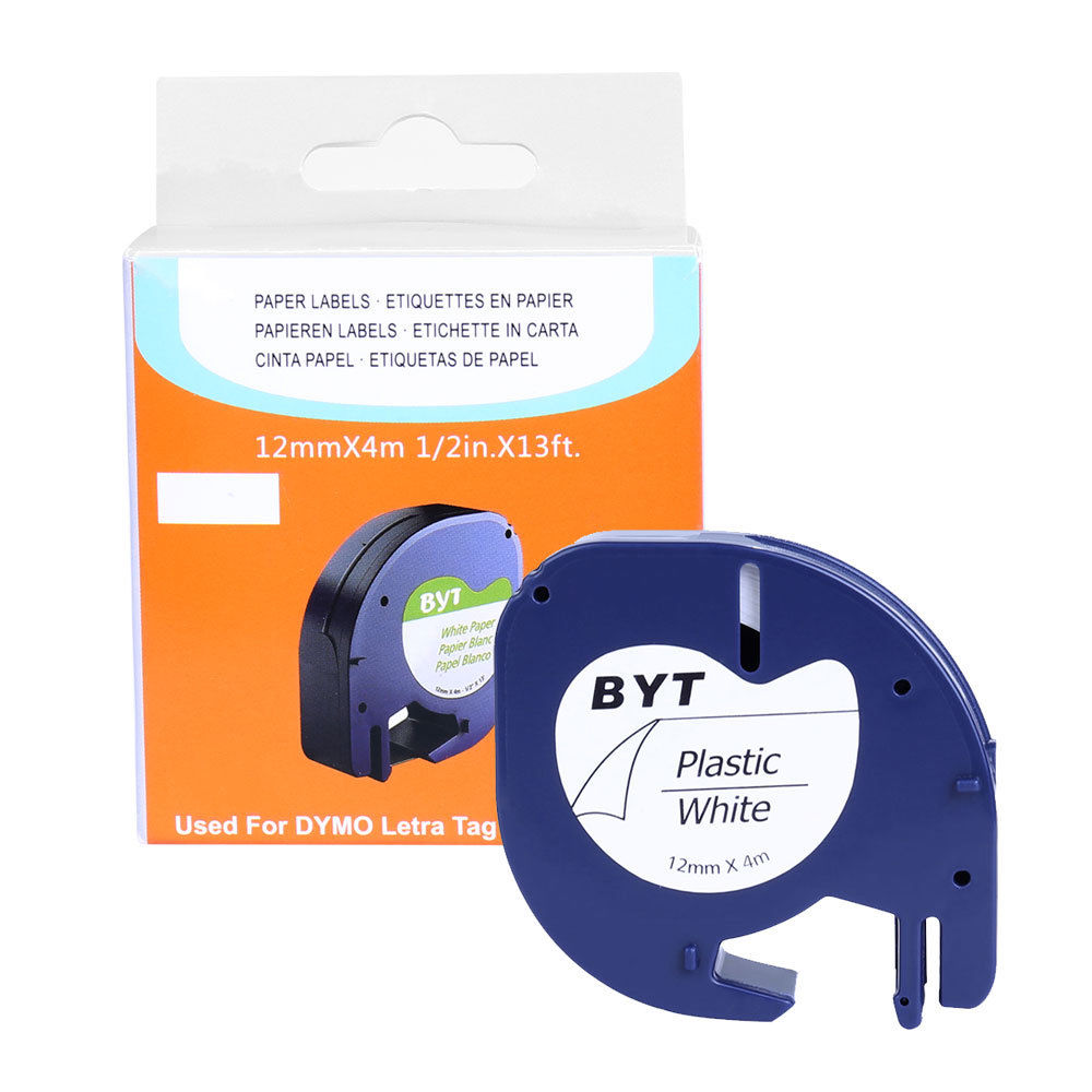 Multipack tape 91201 white plastic 12mm by 4m for DYMO LETRATAG label makers