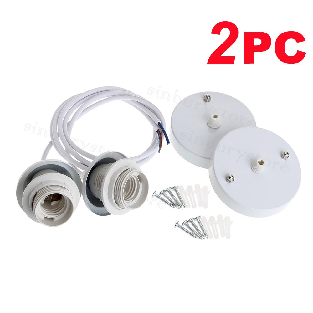 2x pendant ceiling light rose e27 screw bulb lamp holder durable 2x pendant ceiling light rose e27 screw bulb lamp holder durable socket 1m cable aloadofball Gallery