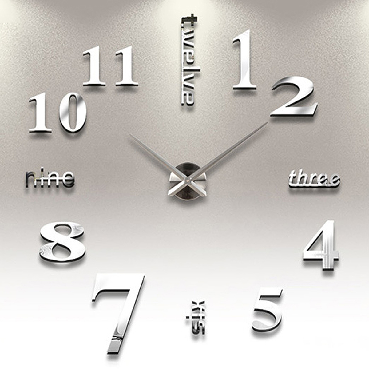 Modern diy large wall clock 3d mirror surface sticker home office luxury large diy 3d wall clock home decor bell cool mirror stickers art watch amipublicfo Choice Image