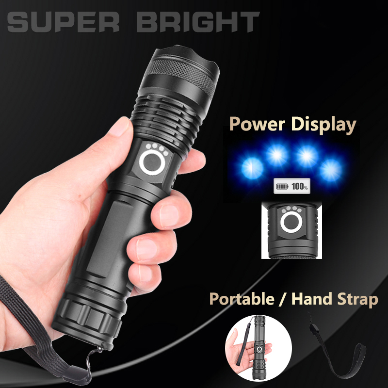 LED Torch USB Rechargeable Flashlight Tactical Zoom Camping Lamp Black UK Z3Y0G