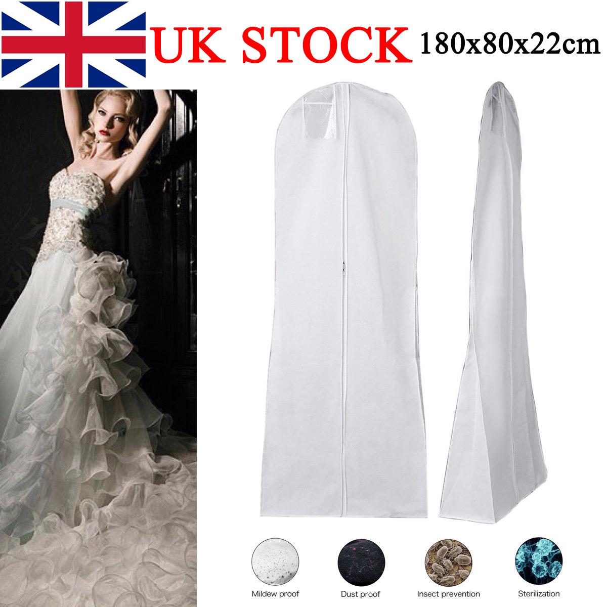 c112a207df54 Breathable Long Dress Zip Cover Bag For Bridal Wedding Gown Prom ...