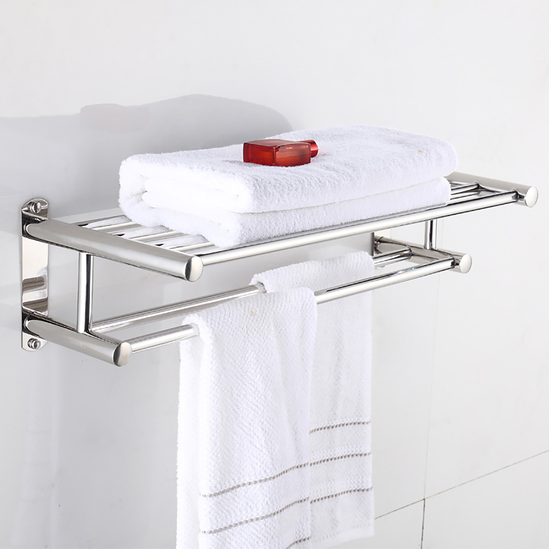 Stainless Steel Double Towel Rail Holder Wall Mounted Bathroom Bath Rack Shelf Ebay