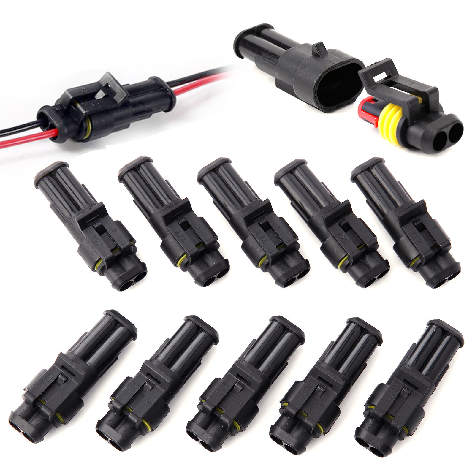 10x 2 3 4pin Way Super Seal Waterproof Electrical Wire Connector ...
