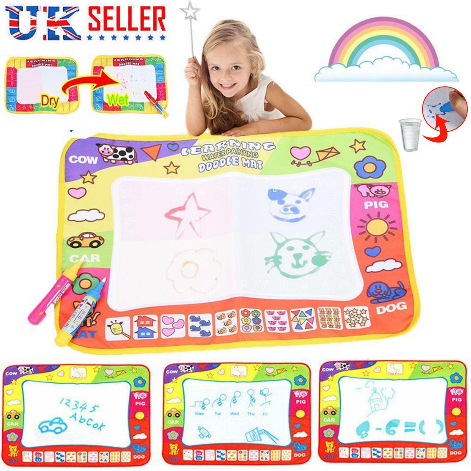 Kids Water Scrawl Mat Drawing Painting Magic Pen Baby Toddler Toys Games Gifts I