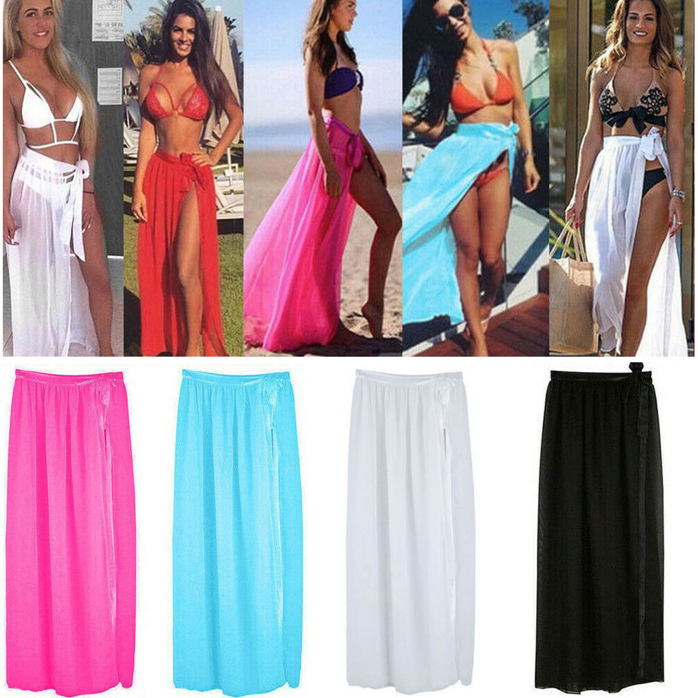 2c2acfd0c3 Details about Women Bikini Cover Up Swimwear Sheer Beach Maxi Wrap Skirt  Sarong Pareo Dress UK