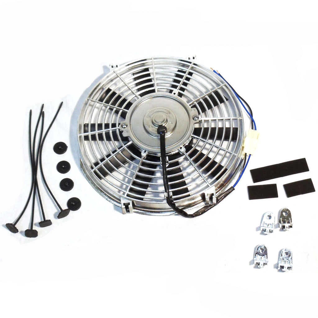 """Chrome Reversible 14/"""" Inch Straight Blade Electric Cooling Fan 12V 1900CFM"""
