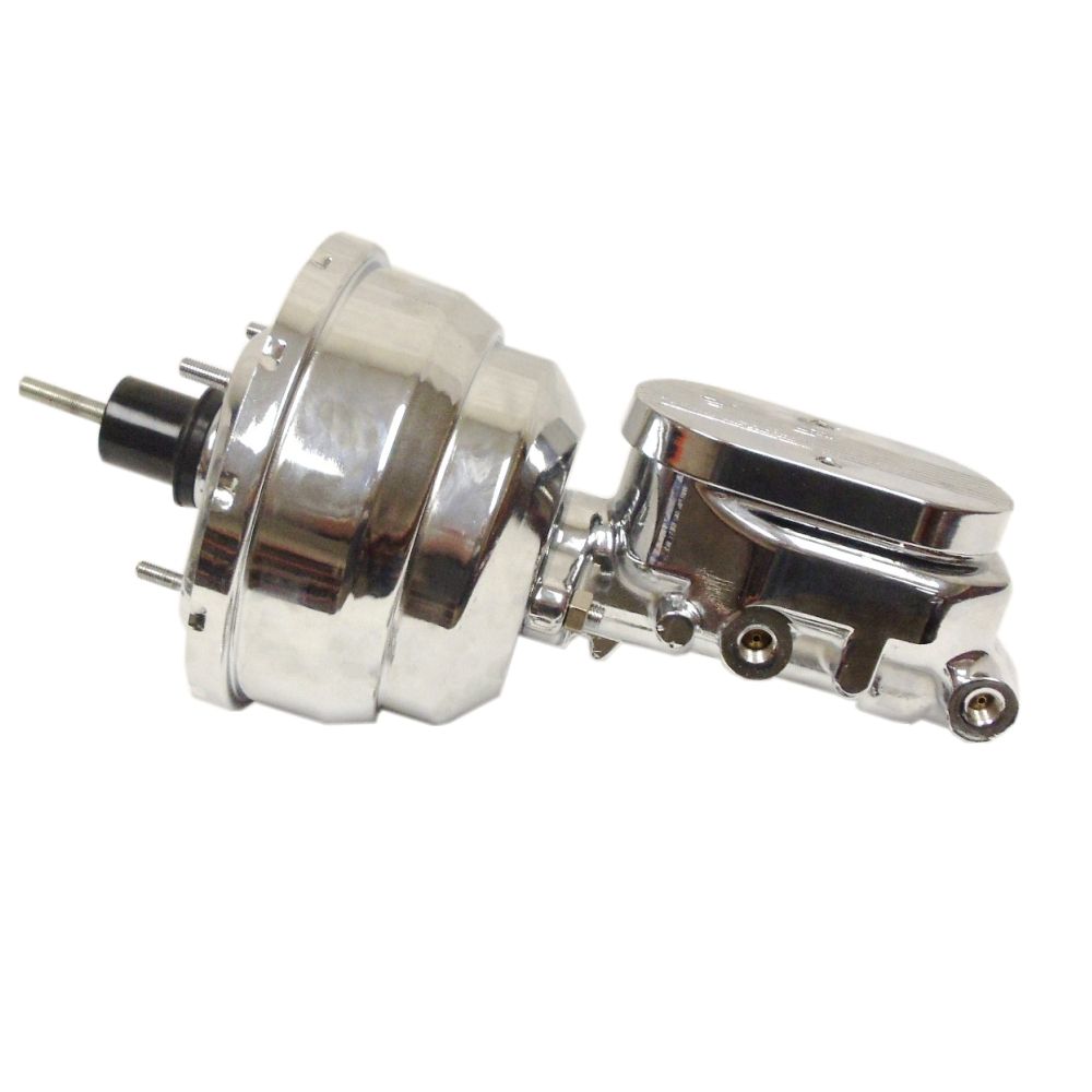 "8/"" Chrome Single Diaphragm Brake Booster and Chrome Finned Cap Master Cylinder"
