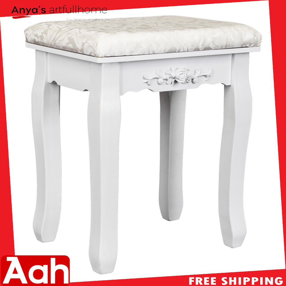Superb Solid Wood Bent Foot Dressing Stool White Ebay Ocoug Best Dining Table And Chair Ideas Images Ocougorg