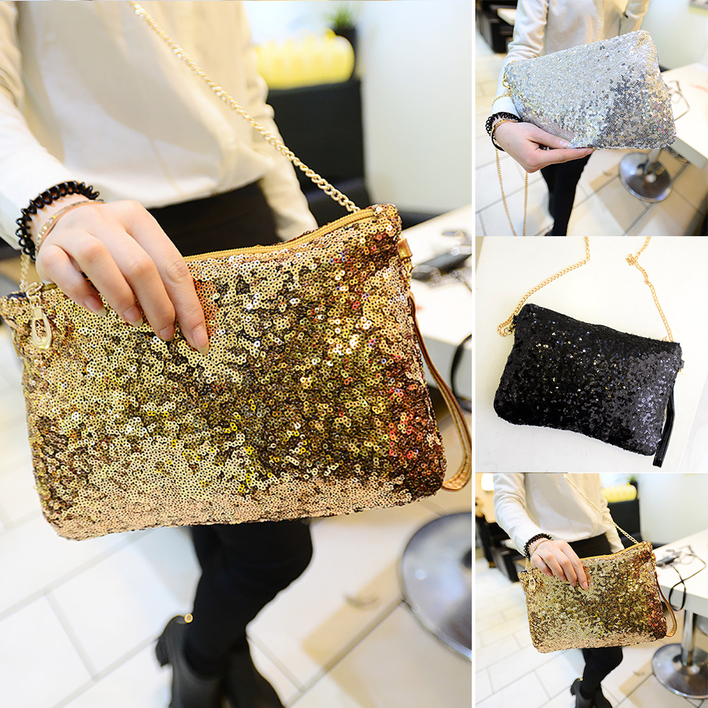 Fashion Sequin Crossbody Messenger Bags Chain Envelope Purse Shoulder Sling  Bag 7724cc352809