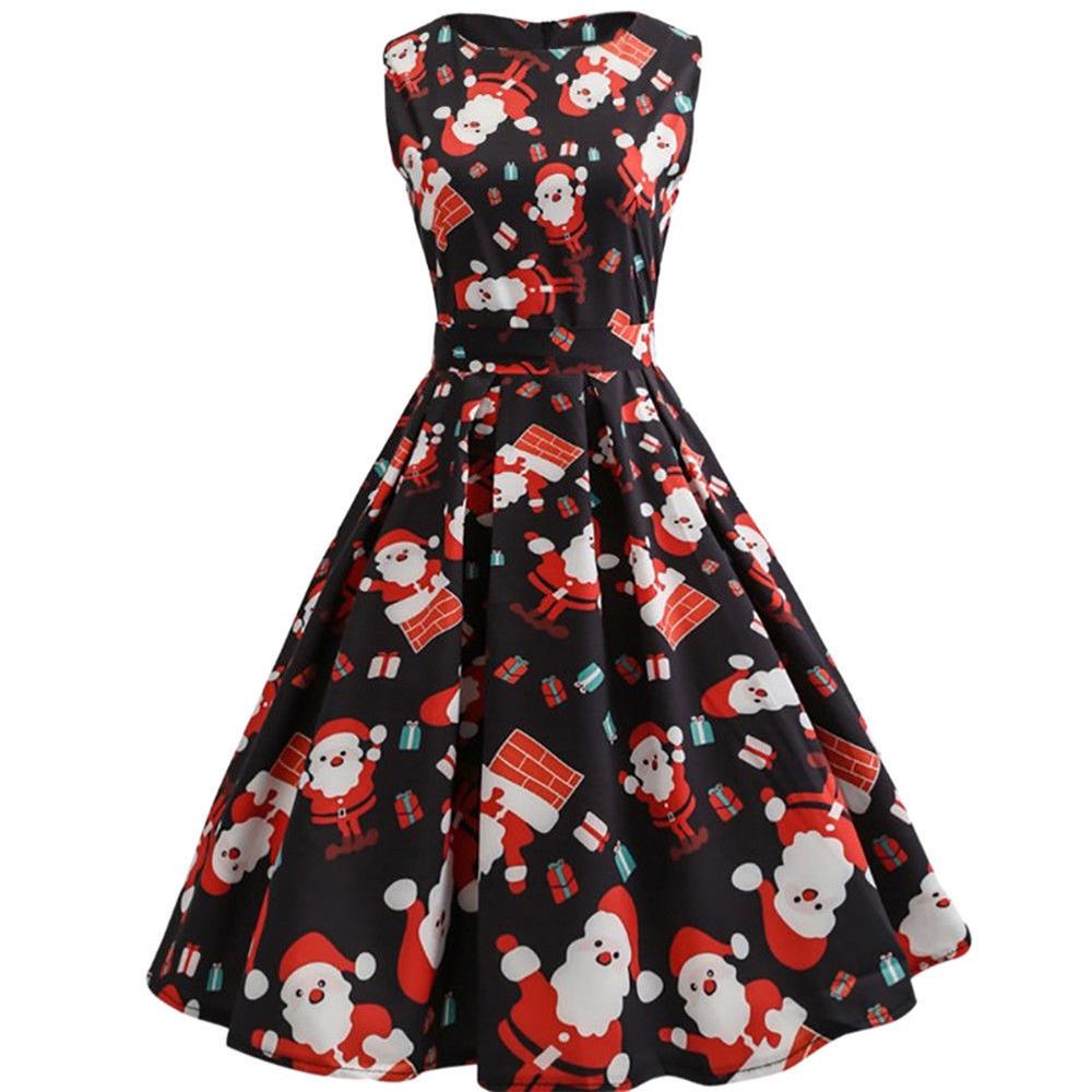Womens-Santa-Snowman-Christmas-Dress-Sleeveless-Xmas-Swing-Red-Retro-50s-Dress