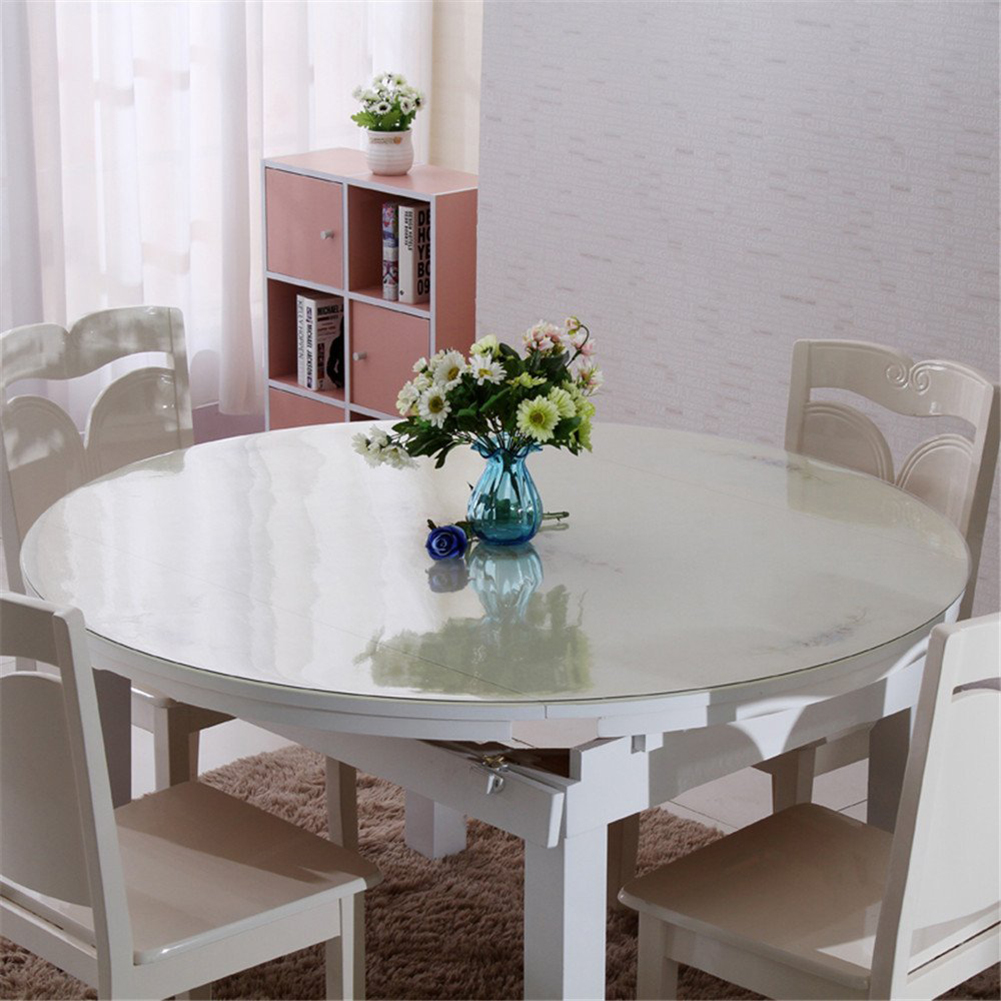 Round Clean Transparent Tablecloth Mat PVC Glass Effect Table Protection  Cover