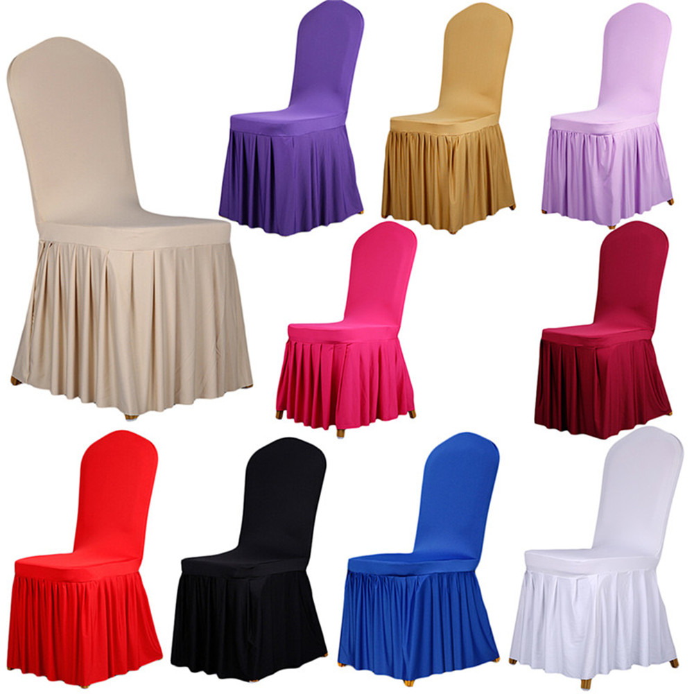 10 Colors Dining Room Wedding Banquet Chair Covers Pleated Stretch Seat Cover