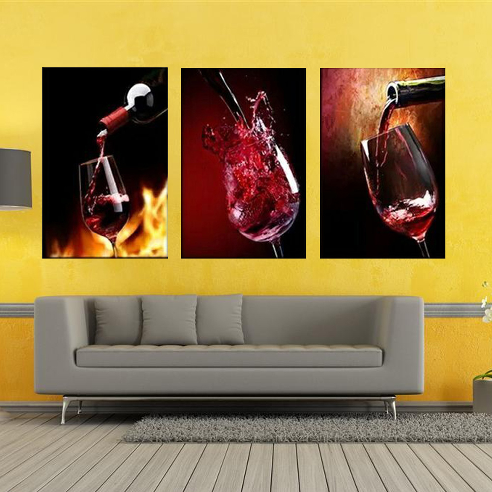 Modern Home Decor Red Wine Cup Bottle Kitchen Wall Painting Art ...