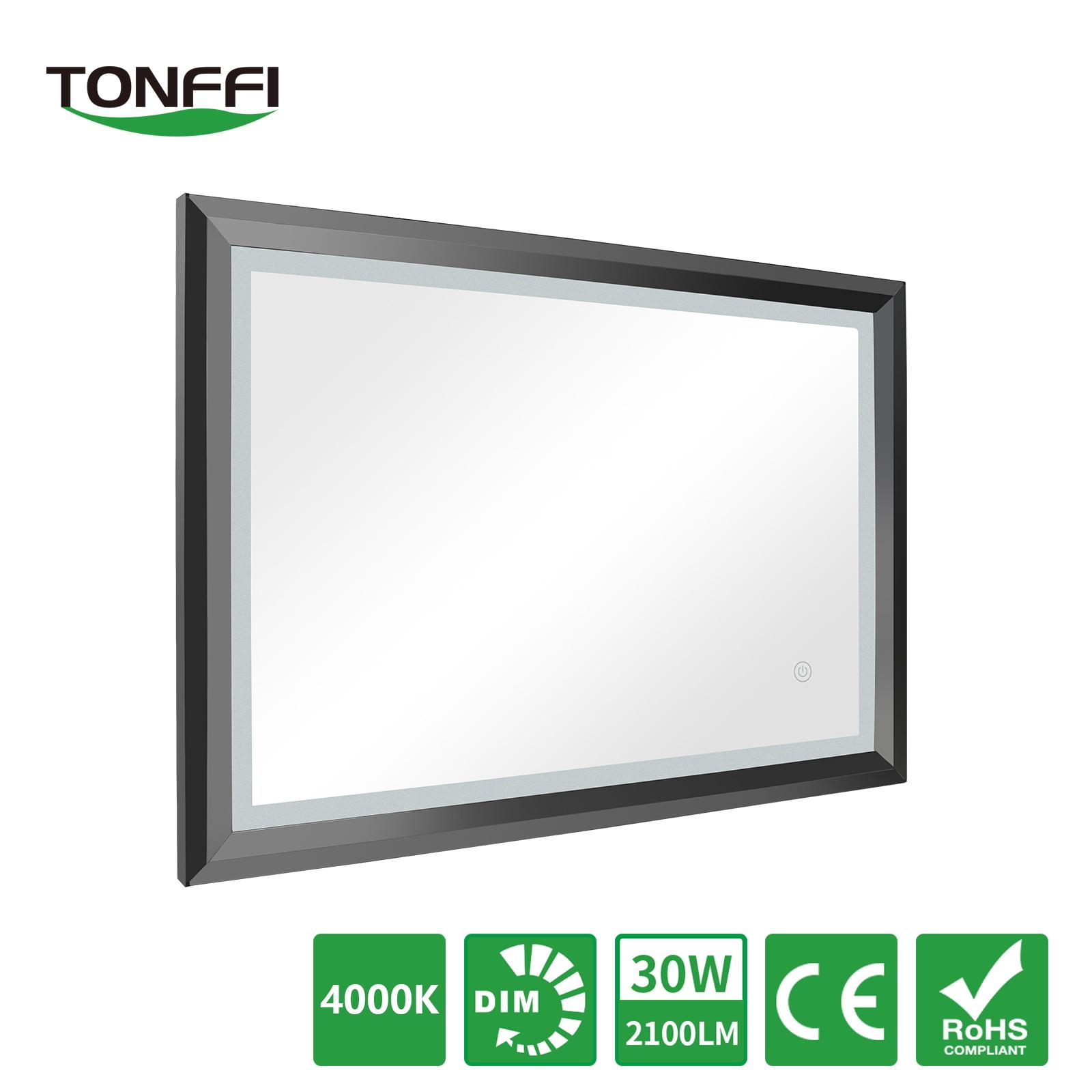 100cm 60cm badspiegel spiegel mit led beleuchtung rahmen wandspiegel 30w 2100lm ebay - Badspiegel mit rahmen ...