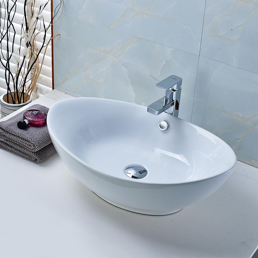 Keramik Waschbecken Oval Waschplatz Waschtisch Aufsatzwaschbecken