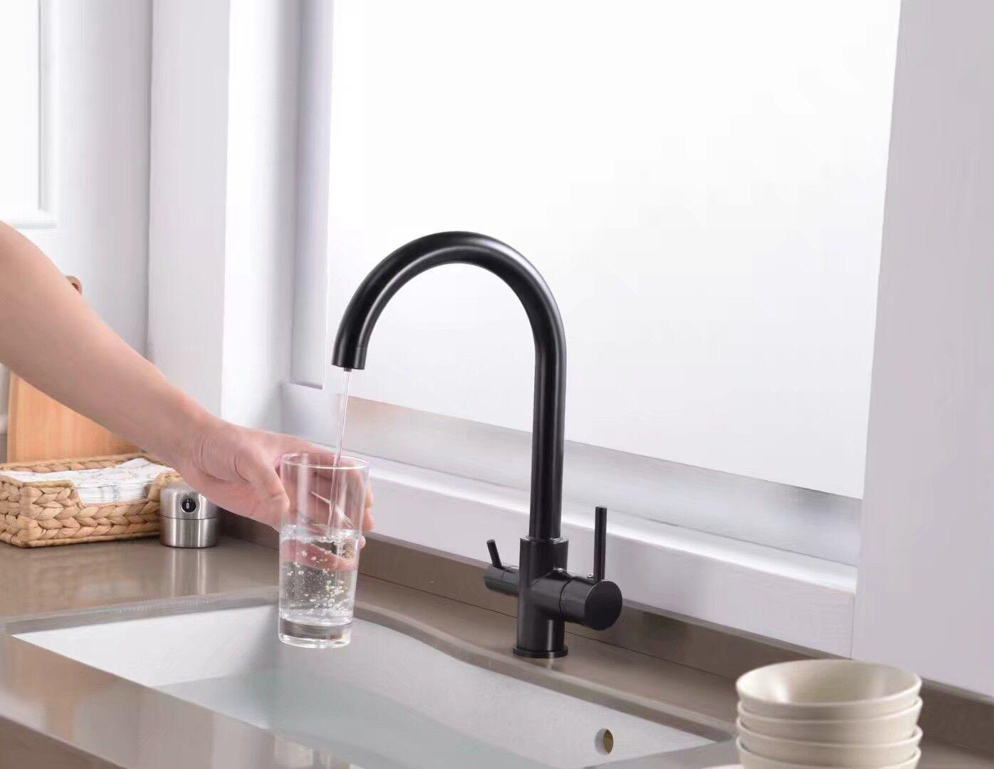 3 Wege Küchenarmatur Wasserfilter Wasserhahn Schwarz für Osmose Anlage System