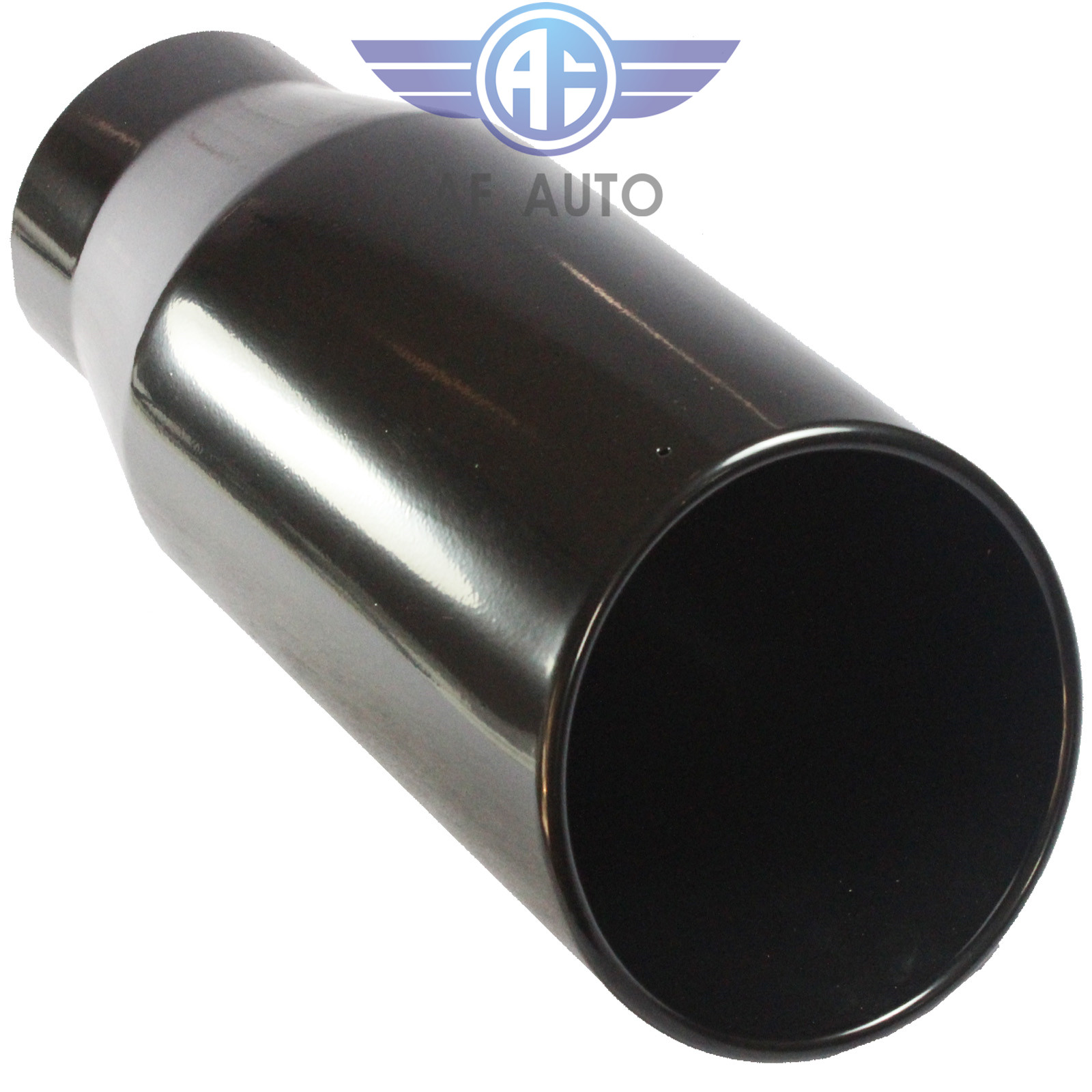 """15/"""" Long Bolt On 7/"""" Outlet Black Diesel Stainless Steel Exhaust Tip 4/"""" Inlet"""