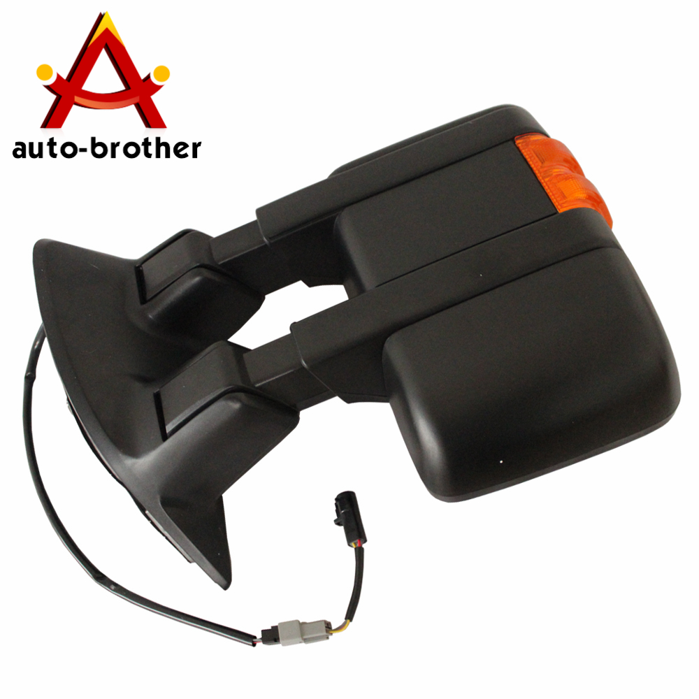 Pair Towing Mirrors Manual Side Mirror W// Amber Turn Signal For 08-15 F250 F350