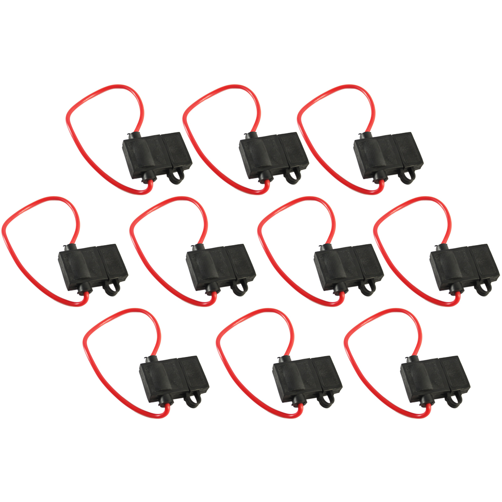 10 Pack In-Line Fuse Holder ATC//ATO Type Fuse Red Wire 16 Gauge 25AMP Blade Fuse