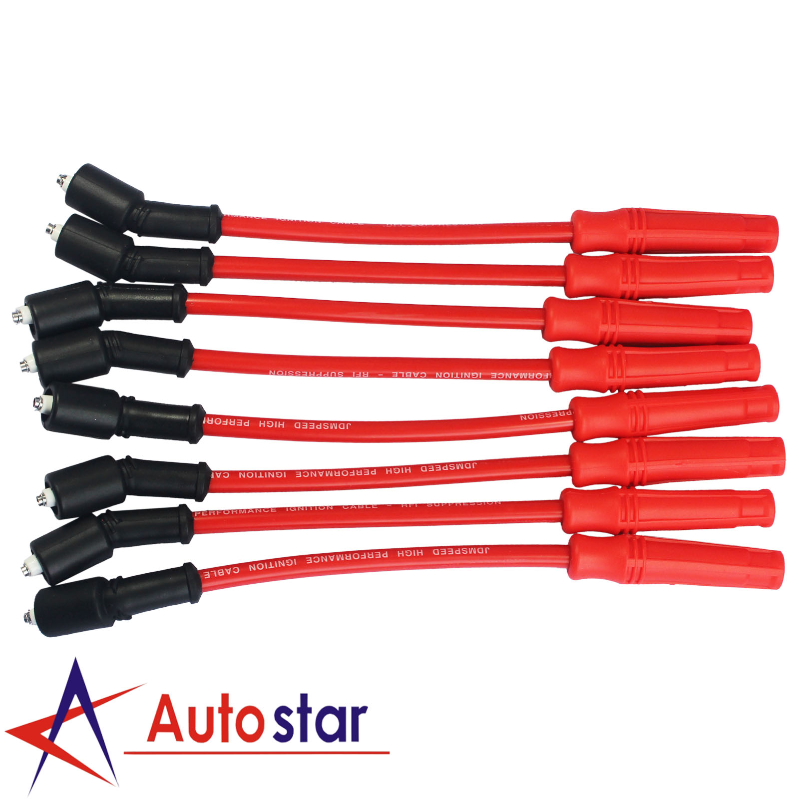 10.2mm Red Spark Plug Wires Set Fit For Chevy Gmc Truck 4.8 5.3 6.0 Vortec Engines