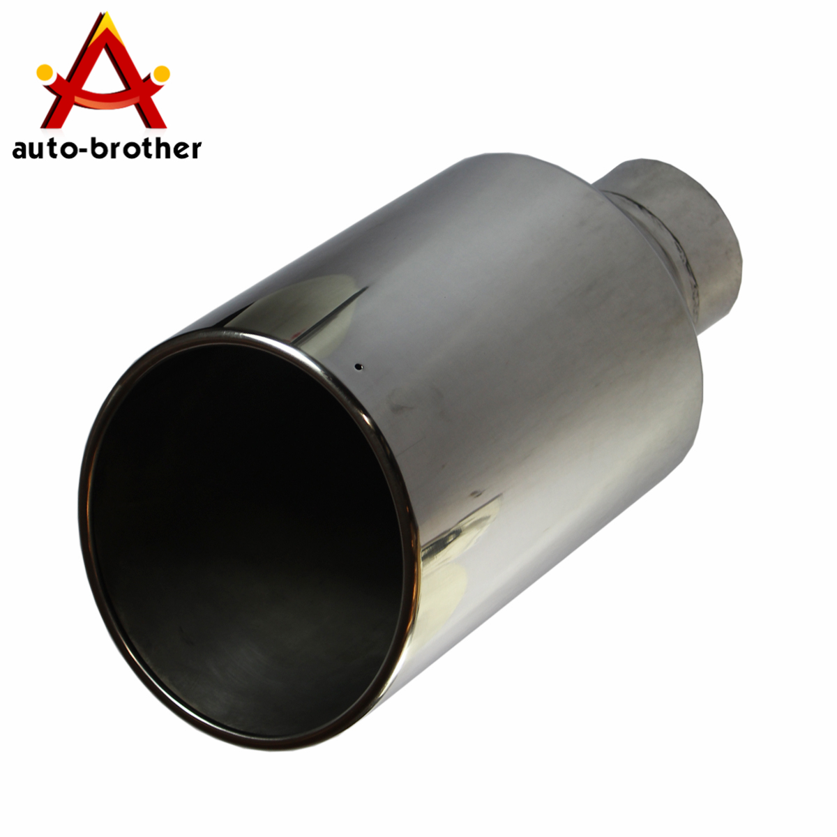 "Exhaust Tip Tail Pipe 15/"" inch Long 4/"" Inlet 8/"" Outlet S//S Rolled End Angle Cut"