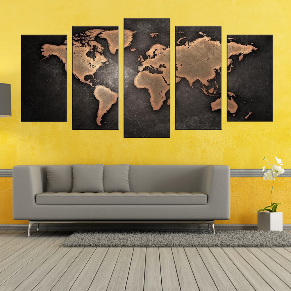 No Frame World Map Art Oil Painting Large Canvas Huge Modern Home ...