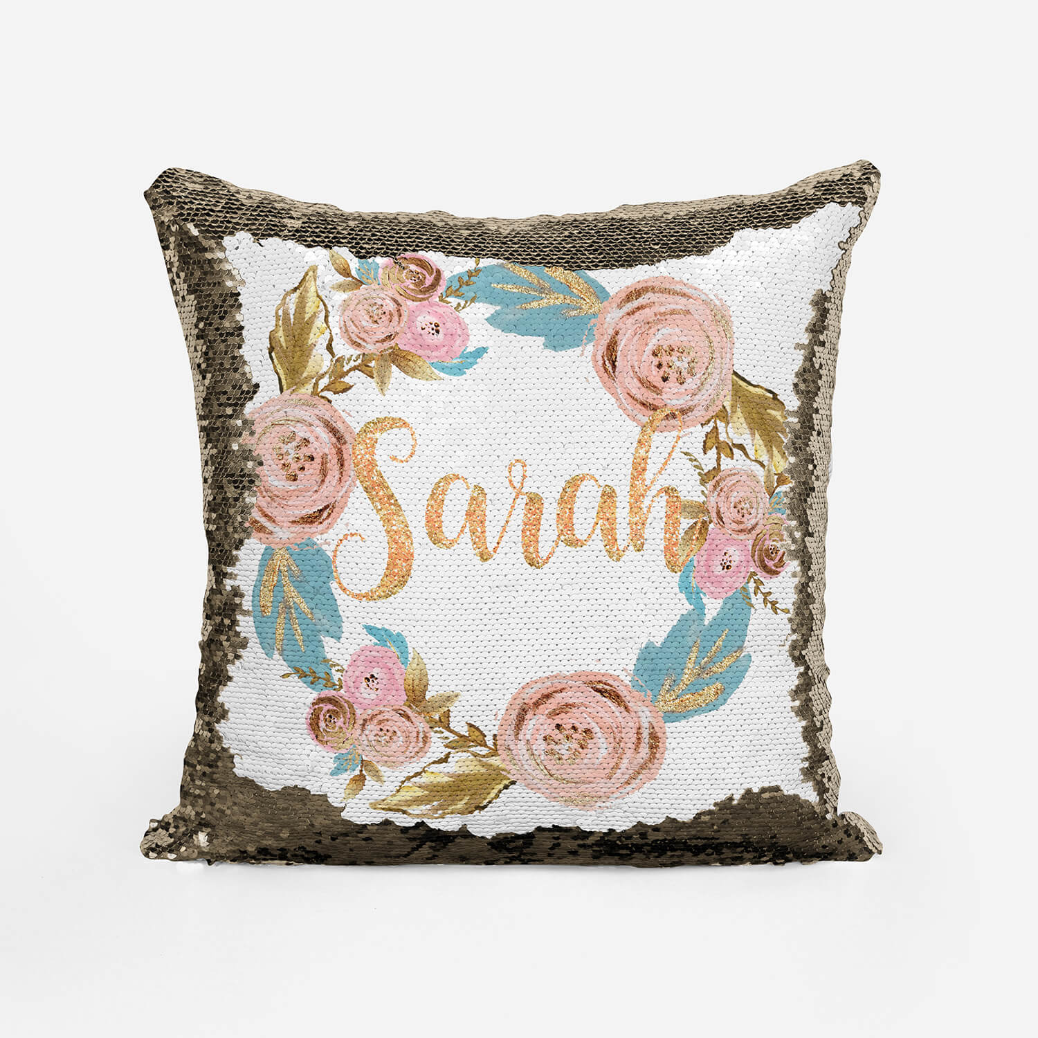 Personalise Rose Gold Floral Wreath Sequin Cushion Reversible