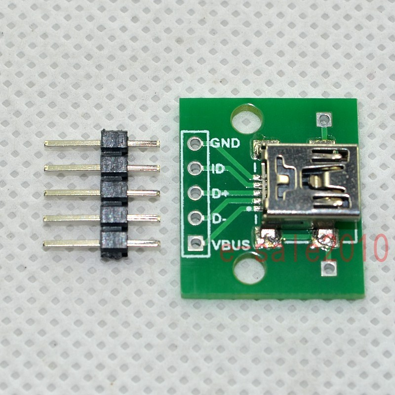 5PCS mini USB to DIP Adapter Converter for 2.54mm PCB Board DIY Power Supply LL