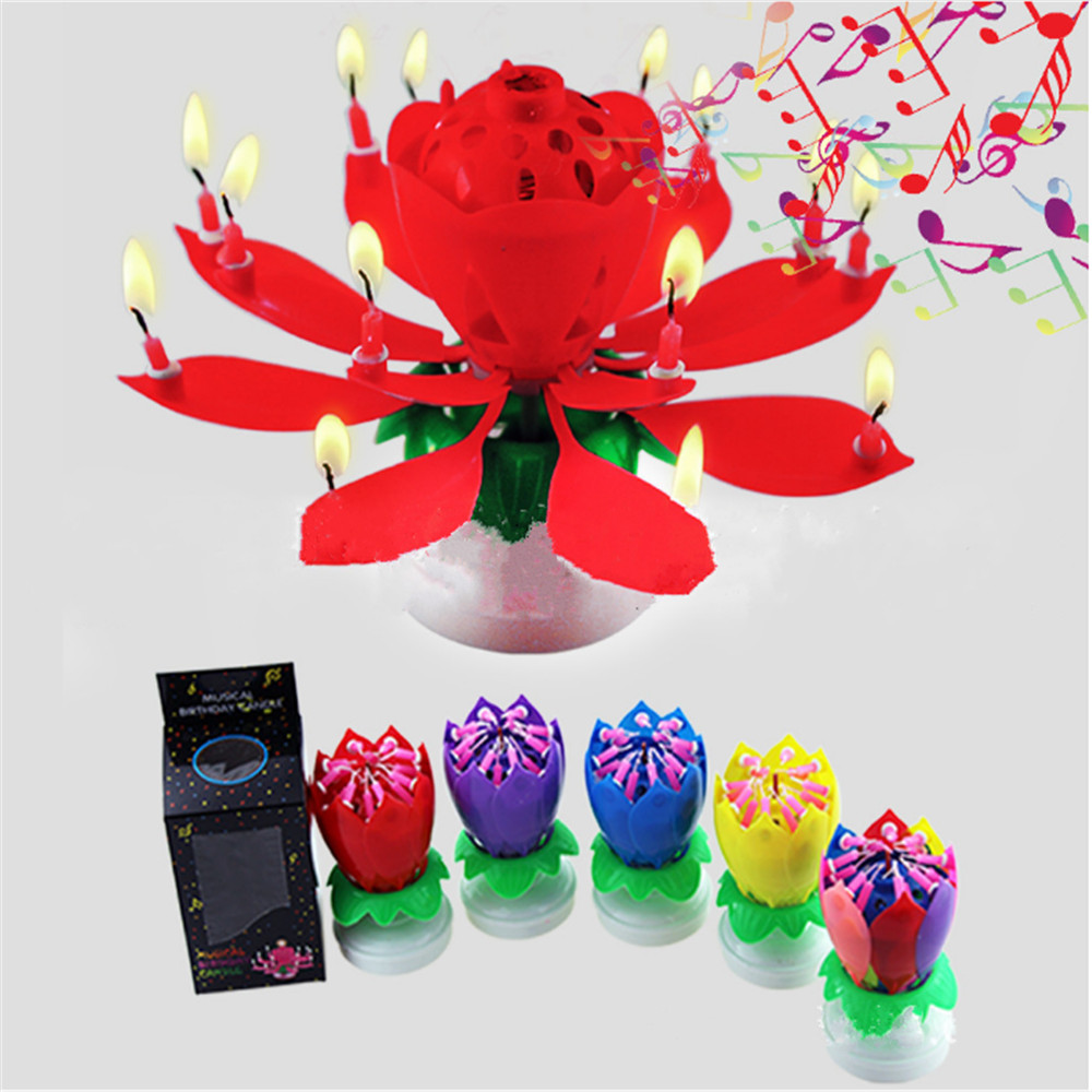 Lotus Flower Music Candles Candles Rotating Lights Birthday Cake