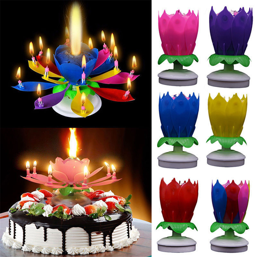 Lotus flower music candles candles rotating lights birthday cake lotus flower music candles candles rotating lights birthday cake topper gift izmirmasajfo