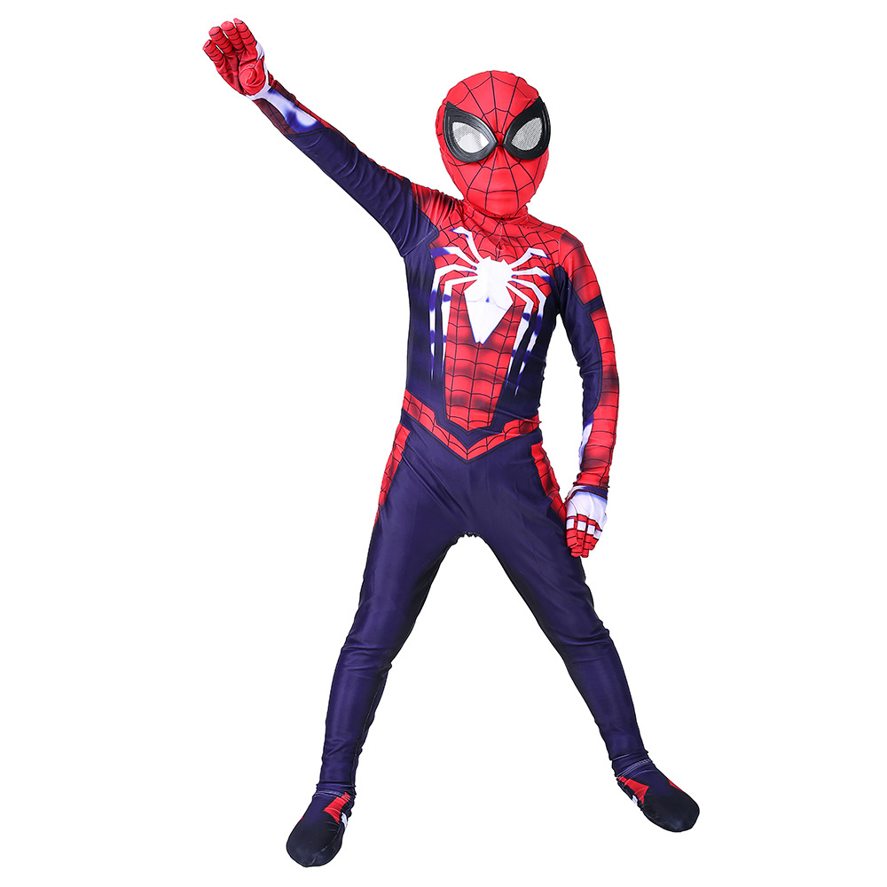 PS4 Spider-man Advanced Suit Zentai Cosplay Costume Spiderman Jumpsuit For Kids