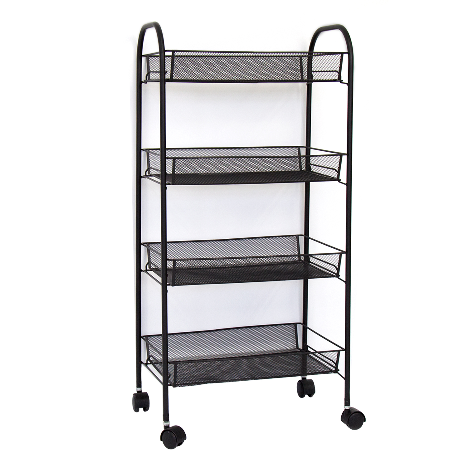 172a90664abc Details about 4 Tier Rolling Metal Kitchen Utility Trolley Cart W/ Storage  Shelf Basket Black