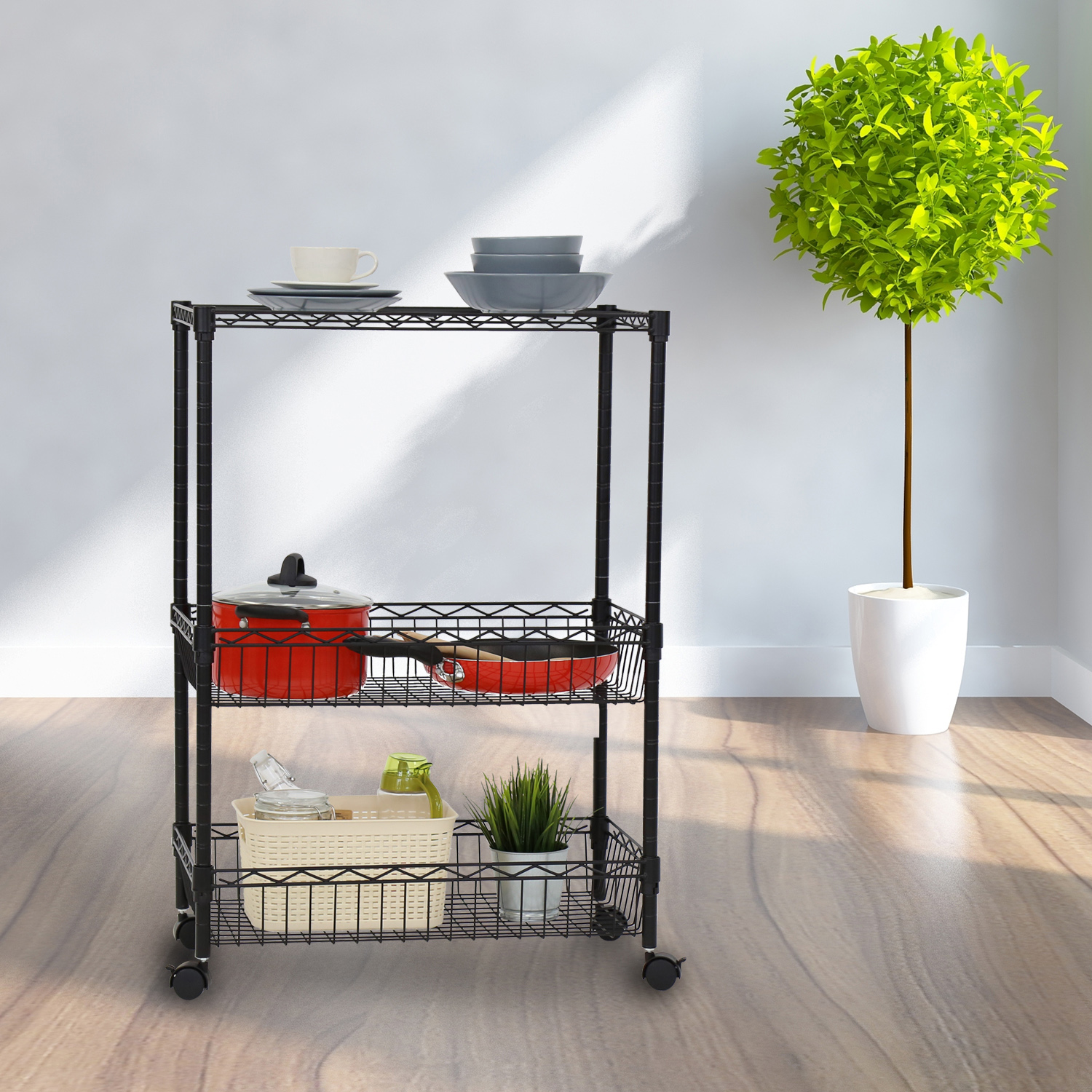 3 Layer Rolling Kitchen Trolley Cart Metal Wire Shelf Adjustable, w ...