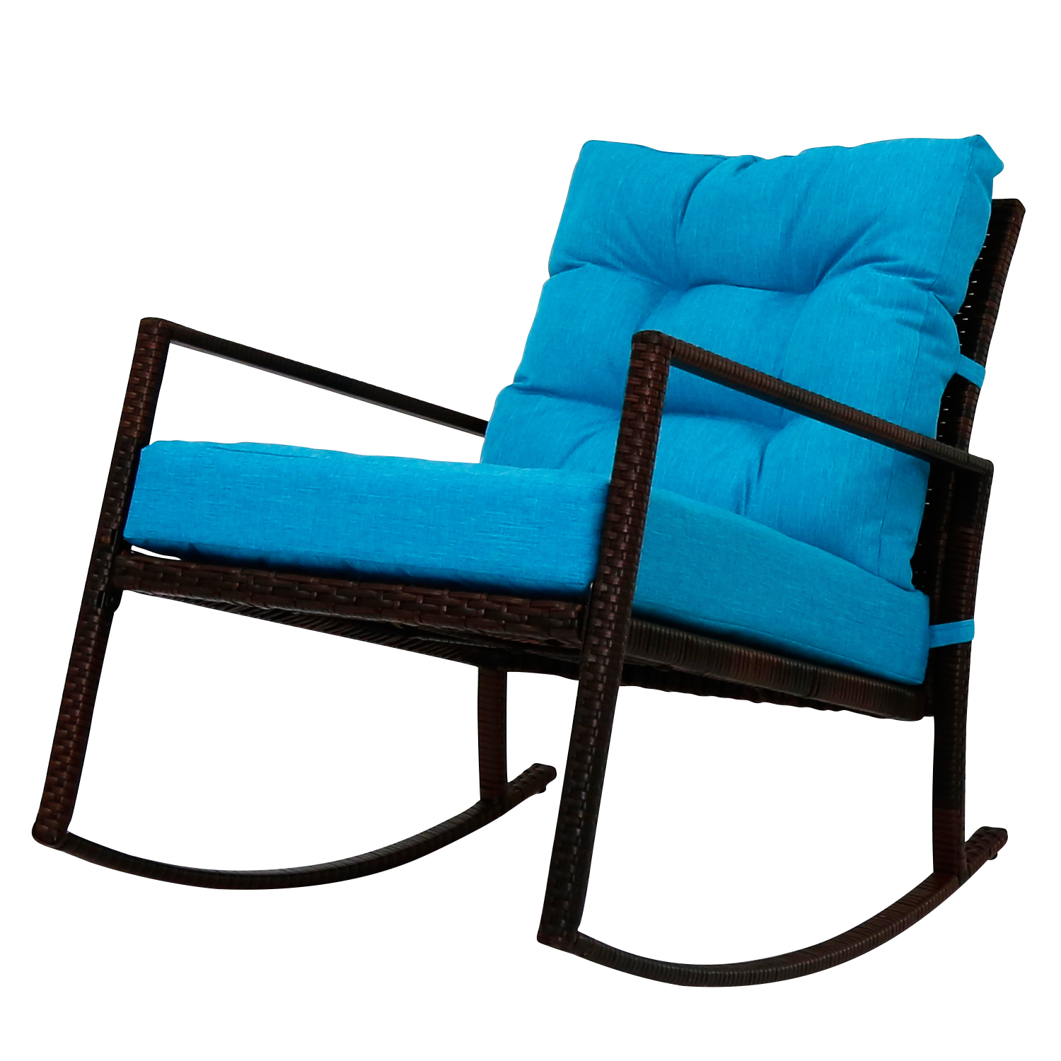Outdoor Pe Rattan Wicker Rocking Chair Yard Cushioned All Weather