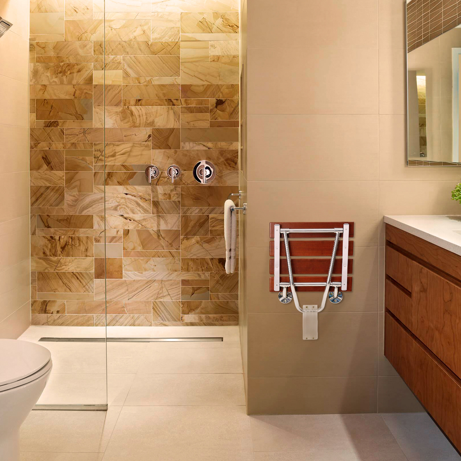 Wood Folding Shower Seat Bathroom Wall-Mounted Bench Rectangular ...