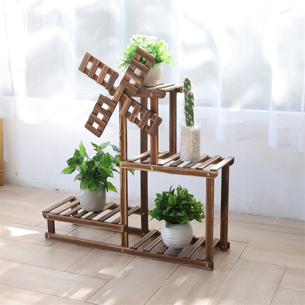 Unique Windmill Plant Stand 4tier Wood Shelf Holder For Herbs Flowers Succulents Ebay