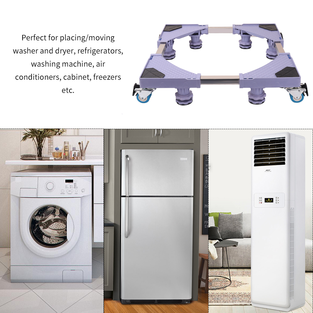 Jieson Mobile Base Universal Washing Machine Base Cart Moveable Base for Home Appliances Furniture Dolly Roller Multi-Functional Refrigerator Base