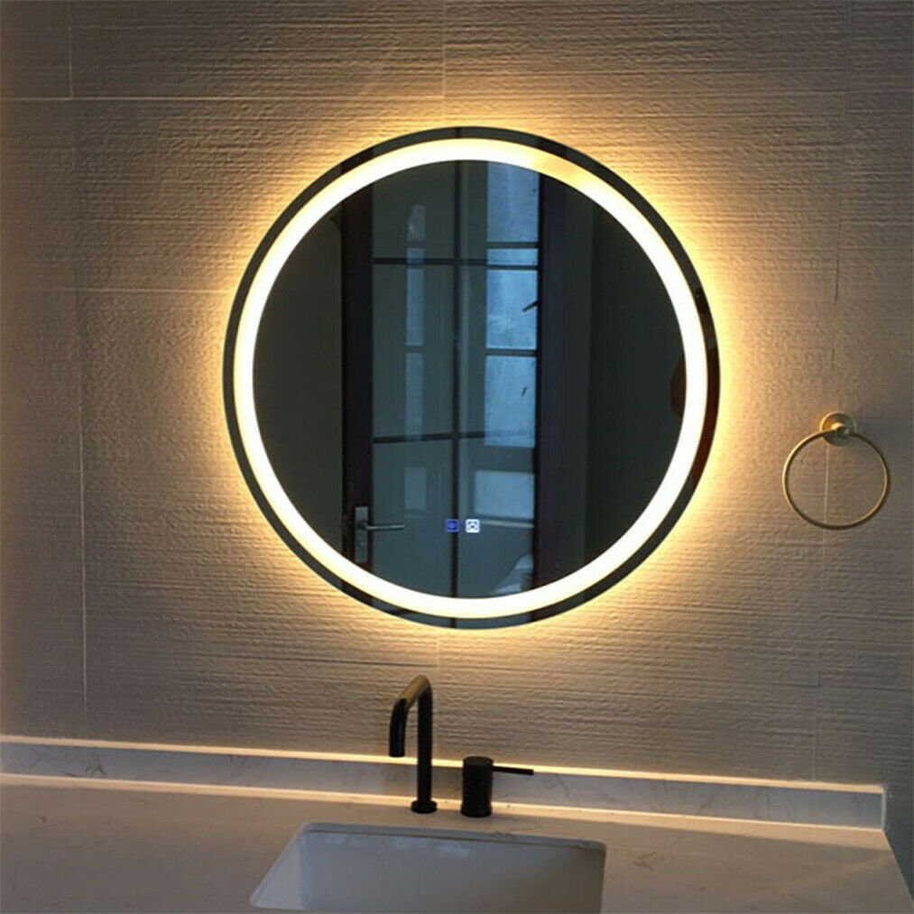 Round Bathroom Vanity Mirror 24 Wall Antifog Mirror With Led Light Touch Button Ebay