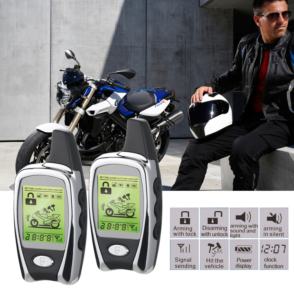 2-Way Motorcycle Safety Alarm System & Immobiliser LCD Pager