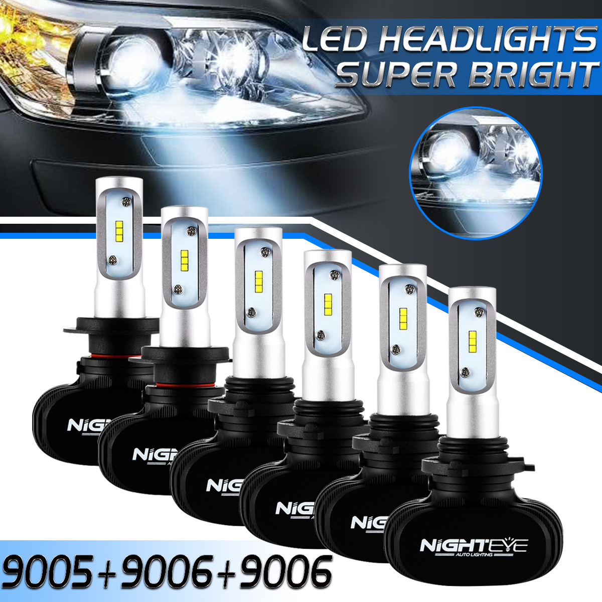 6pcs Combo 9005+9006+9006 Total 150W LED Headlight Fog For