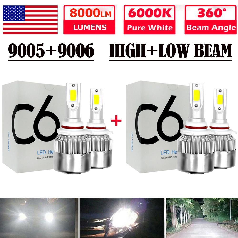 9005+9006 Combo LED Headlight High//Low Beam 8000K White 4 Bulbs Kit 160W 16000LM