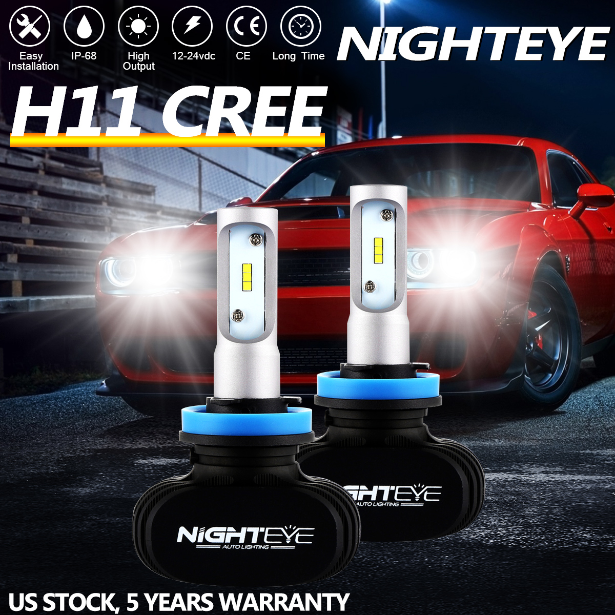 NIGHTEYE H11 H8 H9 LED Headlight Kit Light Bulb High Low Beam White 50W 8000LM