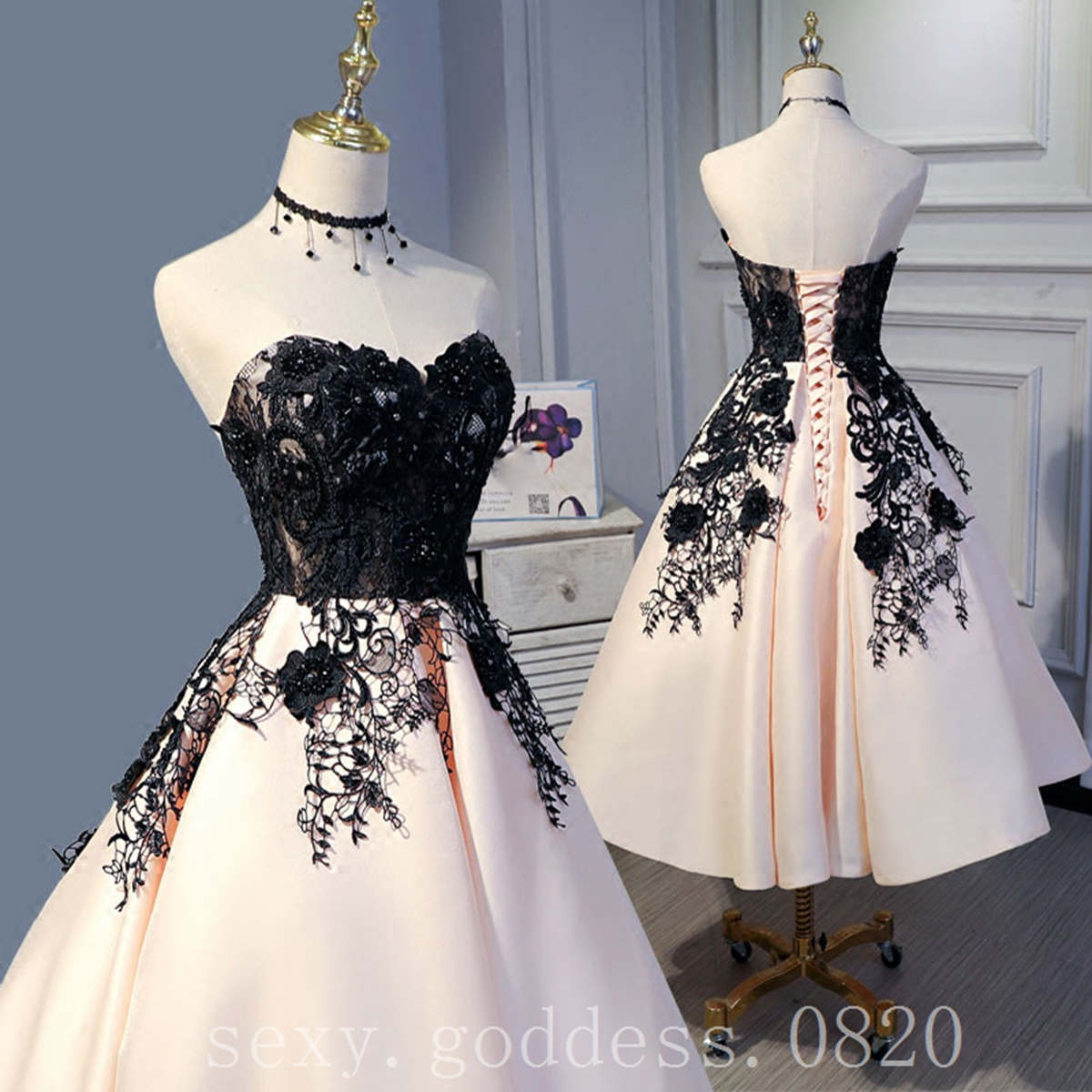 fd9020d73c170 Details about Black Lace Beaded Short Prom Dresses Sweetheart Homecoming  Cocktail Party Gowns