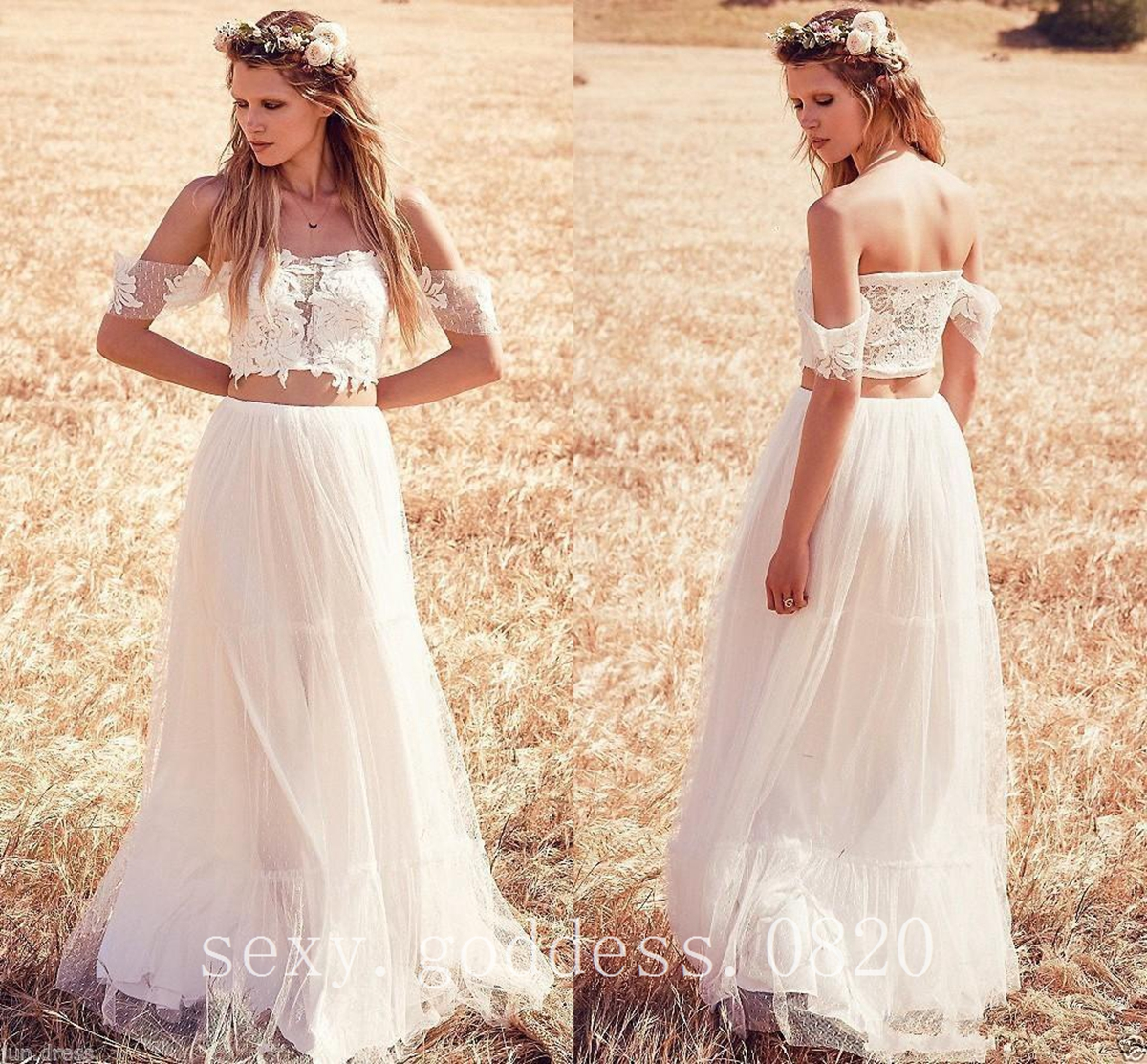 c62996393b Details about Bohemian Lace Tulle Two Piece Wedding Dresses Country Garden  Beach Bridal Gowns
